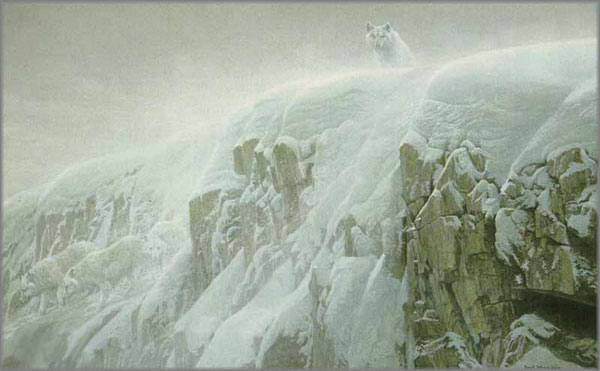 Image result for painting freezing winter mountains wolves