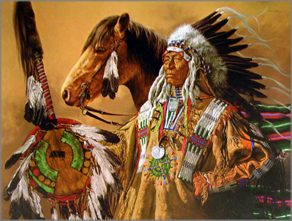 Paul Calle Chief High Pipe Art