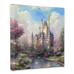 Thomas Kinkade - New Day at the Cinderella Castle, A - Wrapped Canvases