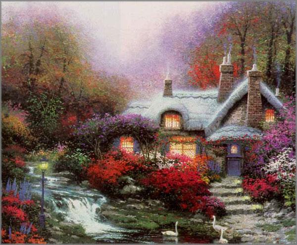 Thomas Kinkade Evening At Swanbrooke Cottage