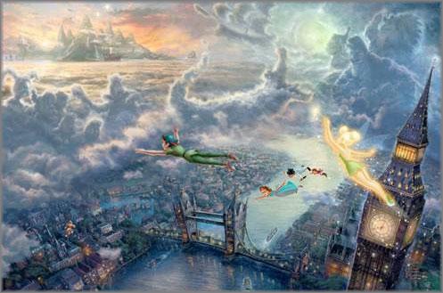 Thomas Kinkade - Tinker Bell and Peter Pan Fly to Neverland