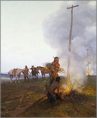 Tom Lovell - Fires Along the Oregon Trail