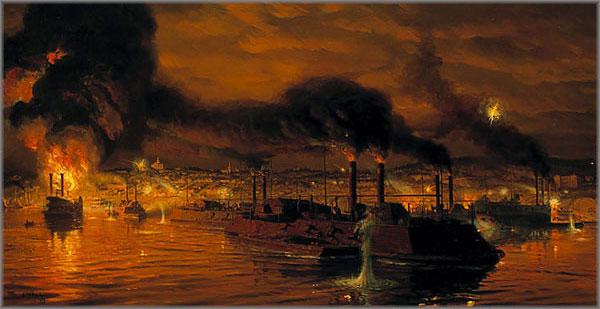 Tom Lovell - Union Fleet Passing Vicksburg