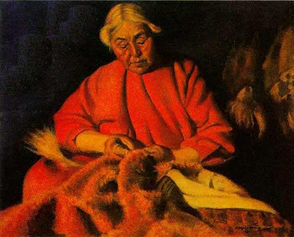 Fred Machetanz - Kyrok - Eskimo Seamstress