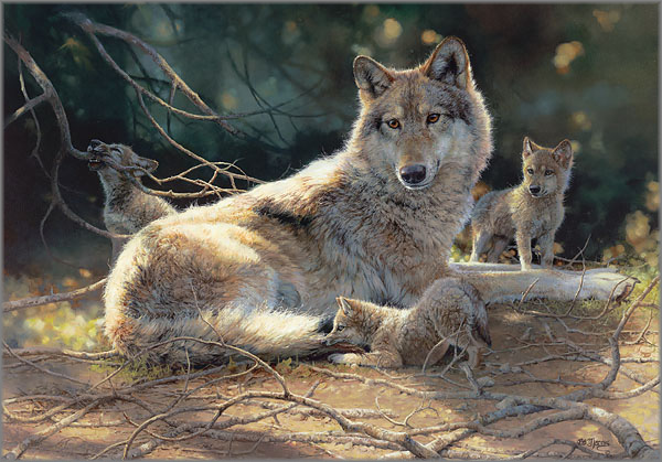 Catch of the Day Bonnie Marris LE 550 14x26 Paper Signed NEW Wildlife Wolf Pack