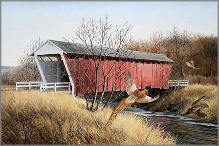 Maynard Reece - Madison County Bridge - Ring-Necked Pheasant