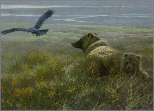 John Seerey-Lester - Denali Encounter - Grizzly, Cub and Raven