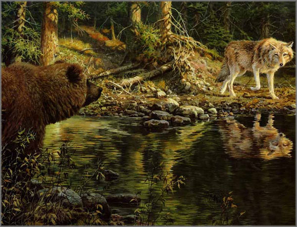 John Seerey-Lester - Evening Encounter - Grizzly and Wolf