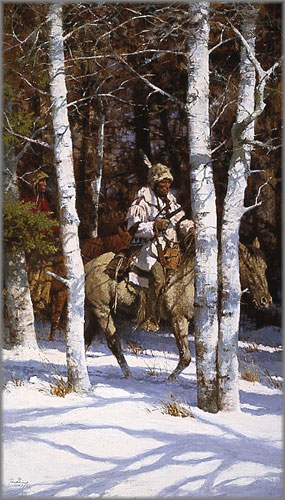 Howard Terpning - Blackfeet Among the Aspen