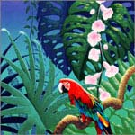 David Utz - Red Parrot on Vine