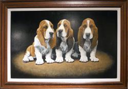 Bassett Hound Pups by John Weiss - framed